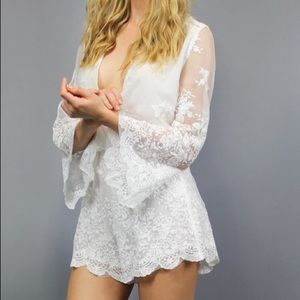 Lioness White Lace Gypsy Playsuit